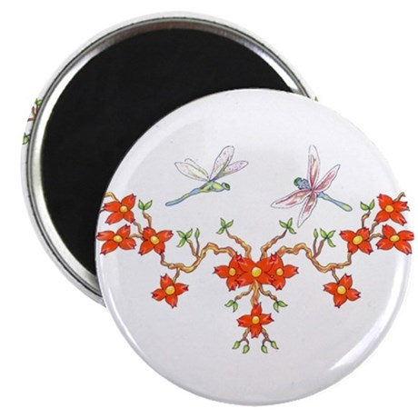 """Cherry Blossom Dragonflies 2.25"""" Magnet (100 pack)"""