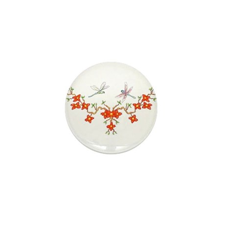 Cherry Blossom Dragonflies Mini Button (100 pack)