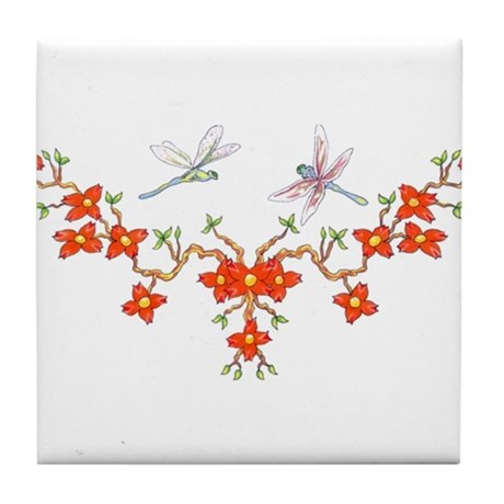 Cherry Blossom Dragonflies Tile Coaster
