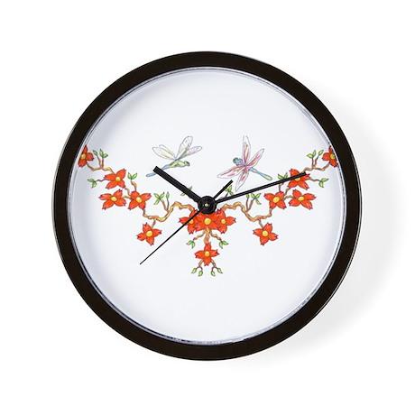 Cherry Blossom Dragonflies Wall Clock
