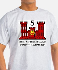 5th Engineer Battalion Ash Grey T-Shirt
