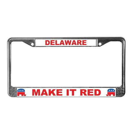 Delaware Make it Red License Plate Frame