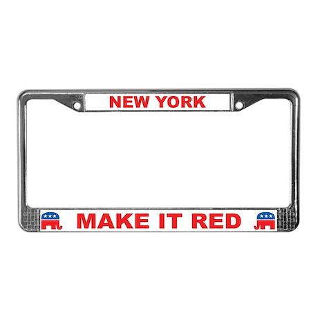 New York Make it Red License Plate Frame