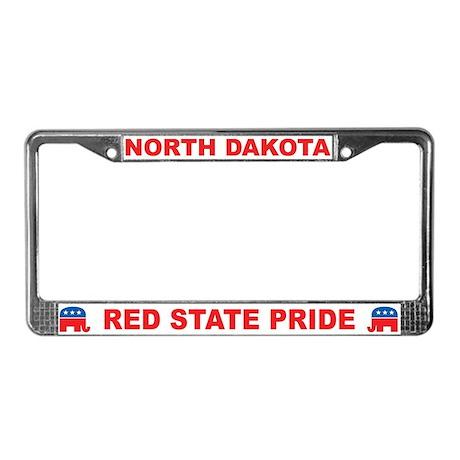 North Dakota Red State Pride License Plate Frame