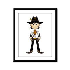 Cute Cowboy Sheriff Framed Panel Print