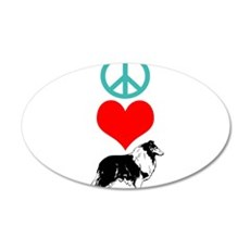 Peace Love Collie 22x14 Oval Wall Peel