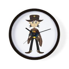 Cute Cowboy Sheriff Wall Clock