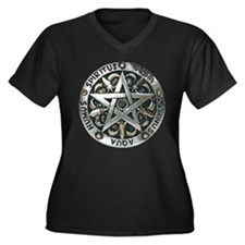 WICCAN Pentagram Women's Plus Size V-Neck Dark T-S