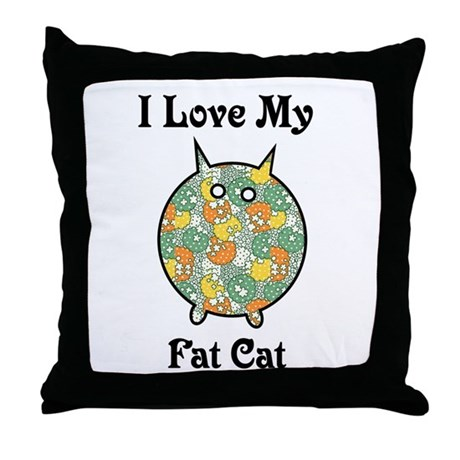 Fat Floral Cat Throw Pillow