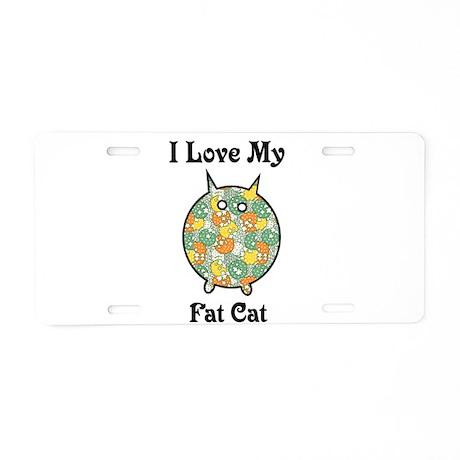 Fat Floral Cat Aluminum License Plate