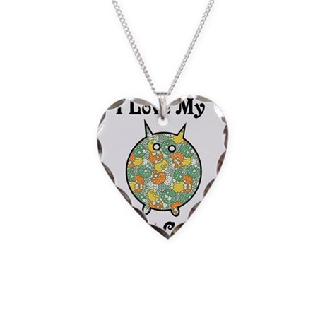 Fat Floral Cat Necklace Heart Charm