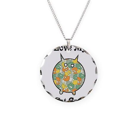 Fat Floral Cat Necklace Circle Charm