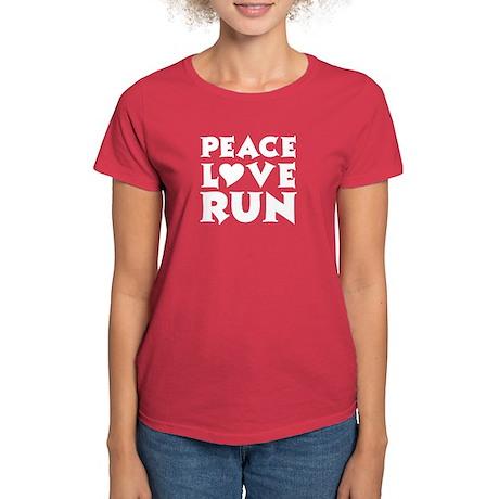 Peace Love Run - white Women's Dark T-Shirt