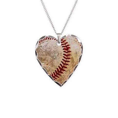 BASEBALL Necklace Heart Charm