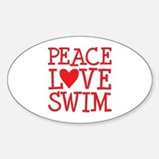 Peace Love Swim - red Decal