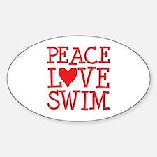 Peace Love Swim - red Sticker (Oval)