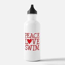 Peace Love Swim - red Water Bottle