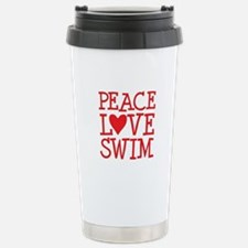 Peace Love Swim - red Stainless Steel Travel Mug