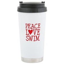 Peace Love Swim - red Travel Mug