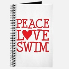 Peace Love Swim - red Journal
