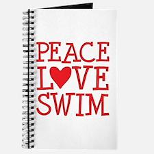Peace Love Swim - red Journal