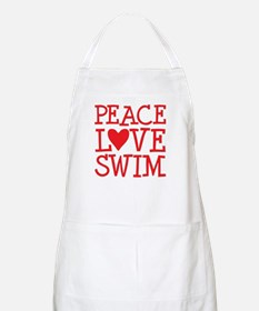 Peace Love Swim - red Apron