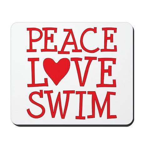 Peace Love Swim - red Mousepad