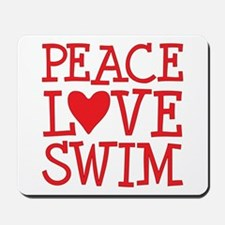 Peace Love Swim - red Mousepad