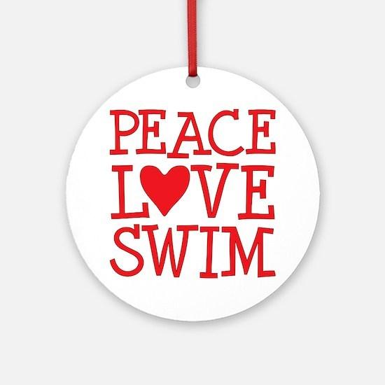 Peace Love Swim - red Ornament (Round)