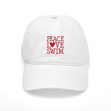 Peace Love Swim - red Baseball Cap