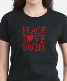 Peace Love Swim - red Tee