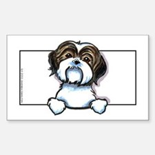 Brown/W Shih Tzu Peeking Decal