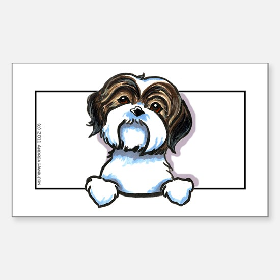 Brown/W Shih Tzu Peeking Sticker (Rectangle 10 pk)
