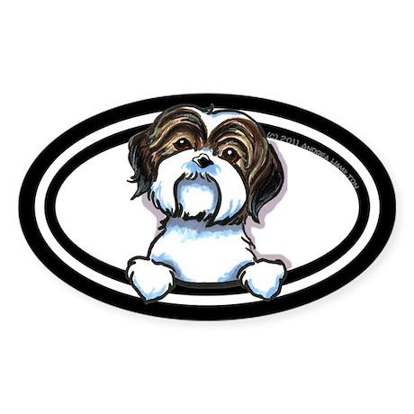 Brown/W Shih Tzu Peeking Sticker (Oval 10 pk)