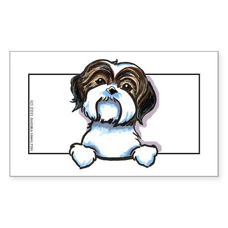Brown/W Shih Tzu Peeking Sticker (Rectangle)