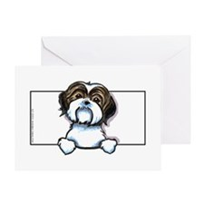 Brown/W Shih Tzu Peeking Greeting Card