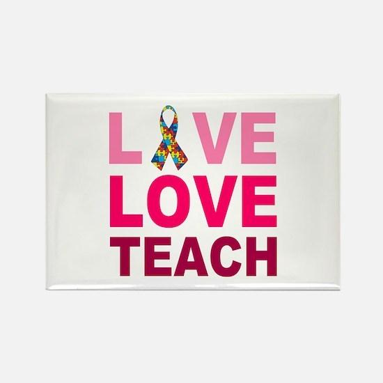 Live Love Teach Autism Rectangle Magnet