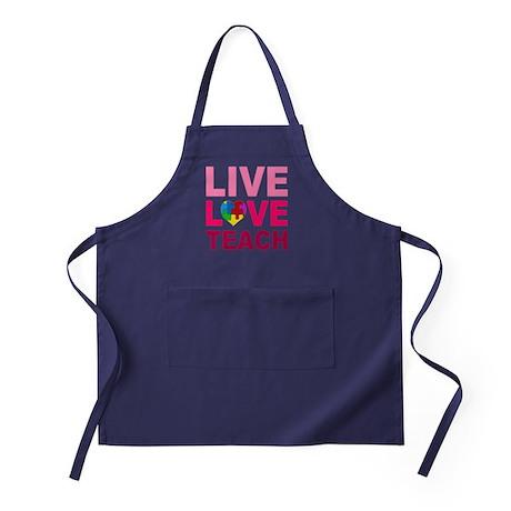Live Love Teach Autism Apron (dark)