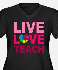 Live Love Teach Autism Women's Plus Size V-Neck Da