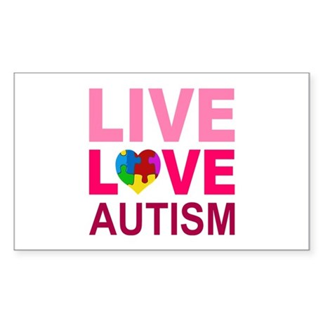 Live Love Autism Sticker (Rectangle)