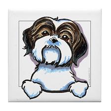 Brown/W Shih Tzu Peeking Tile Coaster