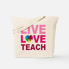 Live Love Teach Autism Tote Bag