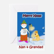 Xmas carol,nan & grandad Greeting Card