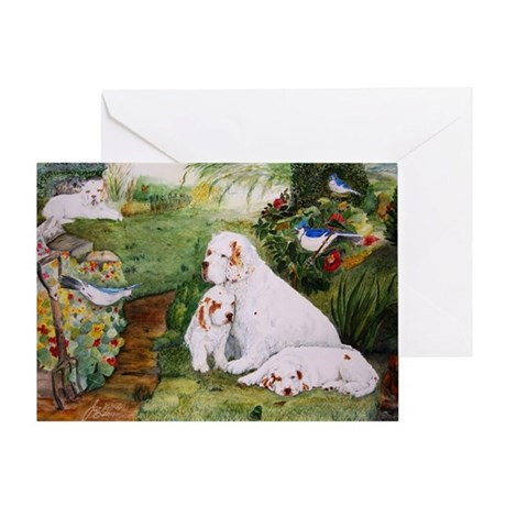 Clumbers in the Garden Greeting Card