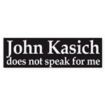 John Kasich does not speak for me bumper sticker