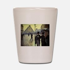 Paris Street Rainy Day by Caillebotte Shot Glass