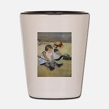 Cassatt Children Playing on Beach Shot Glass