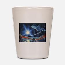 Vintage Science Fiction Blue Planet Shot Glass