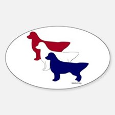Patriotic Golden Retrievers Sticker (Oval)