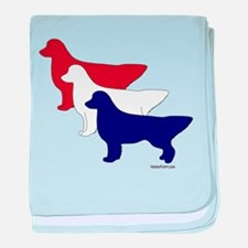 Patriotic Golden Retrievers baby blanket